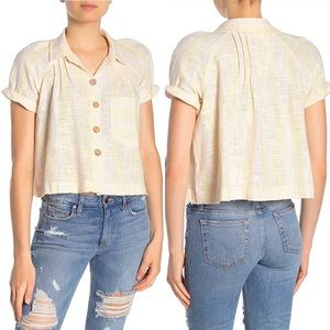 Free People Away at Sea Linen Blend Top
